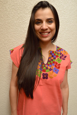 Embroidered Mexican Blouse | Light Salmon - Alebrije Huichol Mexican Folk art magiamexica.com