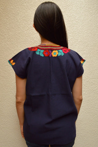 Embroidered Mexican Blouse | Navy - Alebrije Huichol Mexican Folk art magiamexica.com