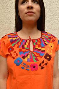 Embroidered Mexican Blouse | Orange - Alebrije Huichol Mexican Folk art magiamexica.com