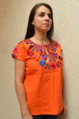 Image of Embroidered Mexican Blouse | Orange - Alebrije Huichol Mexican Folk art magiamexica.com
