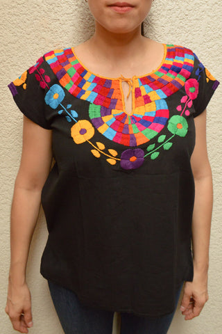 Embroidered Mexican Blouse | Black - Alebrije Huichol Mexican Folk art magiamexica.com