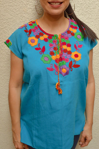 Image of Embroidered Mexican Blouse | Light Blue - Alebrije Huichol Mexican Folk art magiamexica.com
