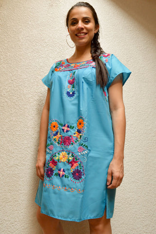 Embroidered Mexican Dress | Light Blue - Alebrije Huichol Mexican Folk art magiamexica.com