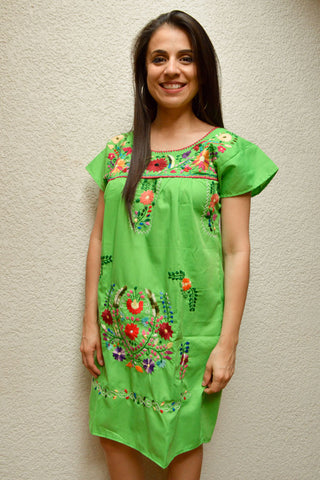 Image of Embroidered Mexican Dress | Green - Alebrije Huichol Mexican Folk art magiamexica.com