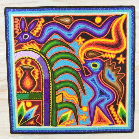 "Yarn Painting Huichol Art 12"" - Magia Mexica"