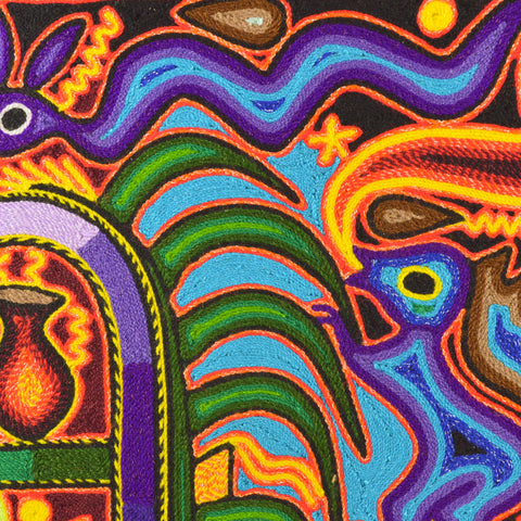 "Image of Yarn Painting Huichol Art 12"" - Magia Mexica"