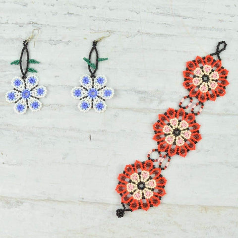 Bracelet and Earrings - Alebrije Huichol Mexican Folk art magiamexica.com