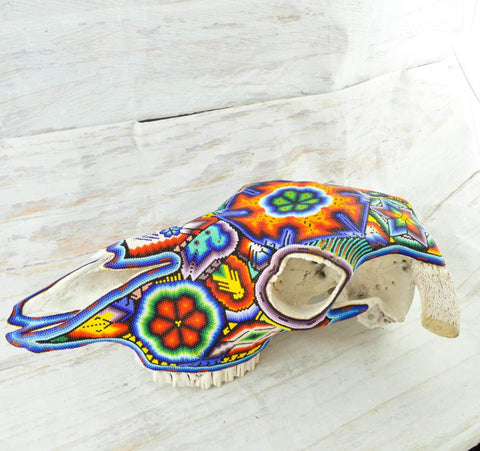 Image of Bull Head Skull Huichol Art - Magia Mexica