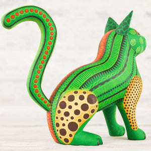 Cat Alebrije Oaxacan Wood Carving