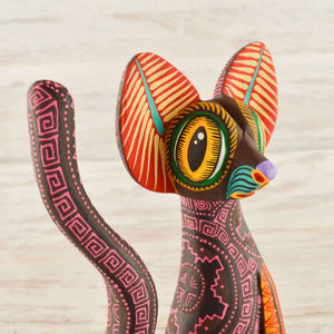 Cat Alebrije Wood Carving Oaxacan - Magia Mexica