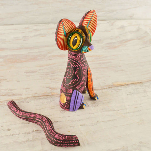 Image of Cat Alebrije Wood Carving Oaxacan - Alebrije Huichol Mexican Folk art magiamexica.com