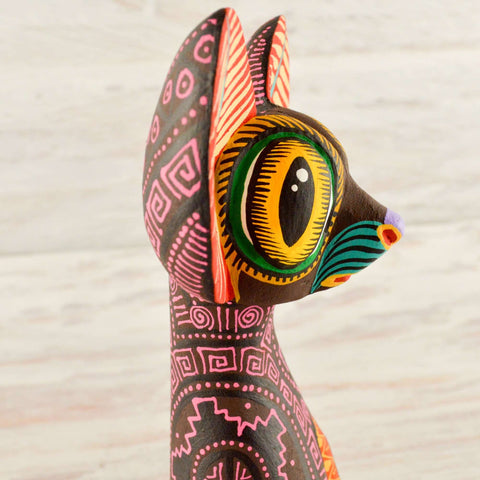 Image of Cat Alebrije Wood Carving Oaxacan - Magia Mexica