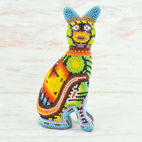 Image of Cat Huichol Art - Alebrije Huichol Mexican Folk art magiamexica.com