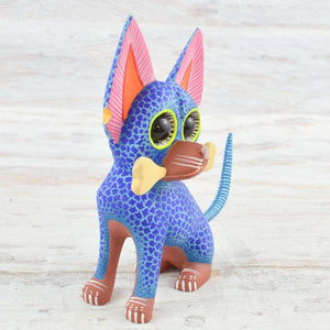 Dog Alebrije Oaxacan Wood Carving - Magia Mexica