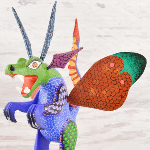 Image of Dragon Alebrije Oaxacan Wood Carving - Alebrije Huichol Mexican Folk art magiamexica.com