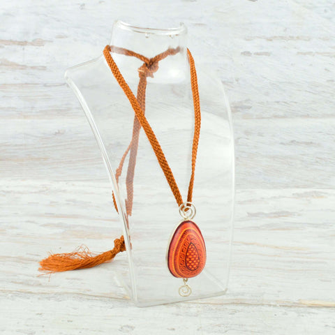 Drop Necklace Alebrije Wood Carving & Silver