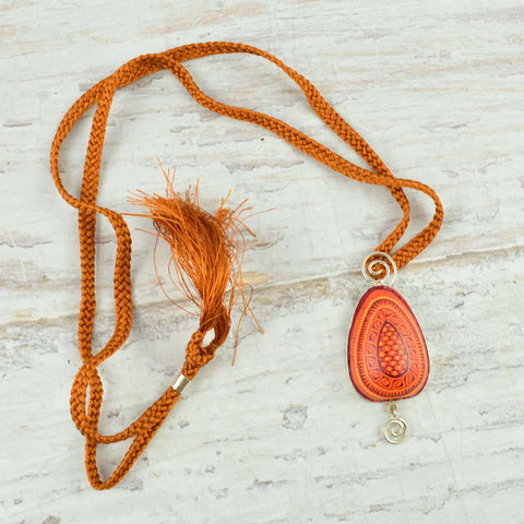 Image of Drop Necklace Alebrije Wood Carving & Silver