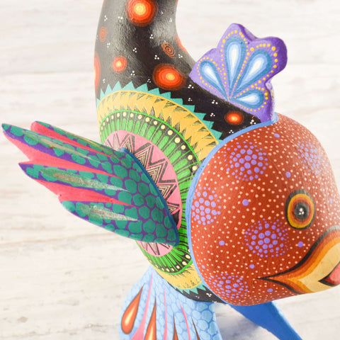 Image of Fish Alebrije Wood Carving Oaxacan - Alebrije Huichol Mexican Folk art magiamexica.com