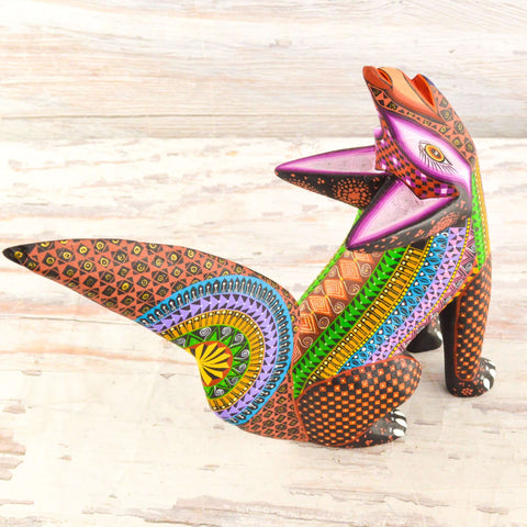 Image of Fox Alebrije Oaxacan Wood Carving - Alebrije Huichol Mexican Folk art magiamexica.com