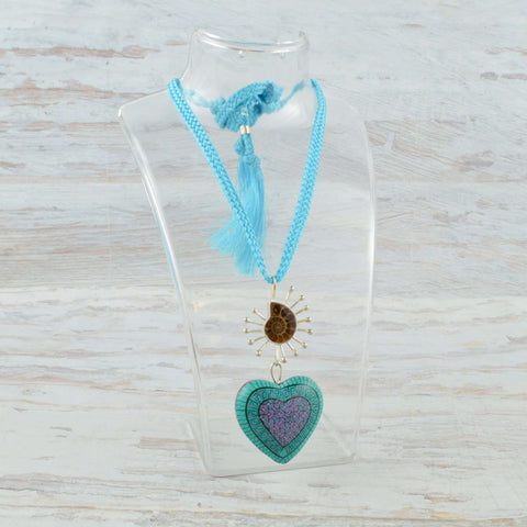 Image of Heart Necklace Alebrije Wood Carving & Silver