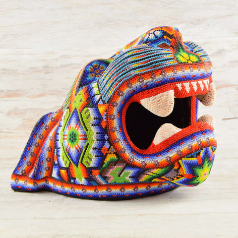 Image of Jaguar Head Huichol Art - Alebrije Huichol Mexican Folk art magiamexica.com