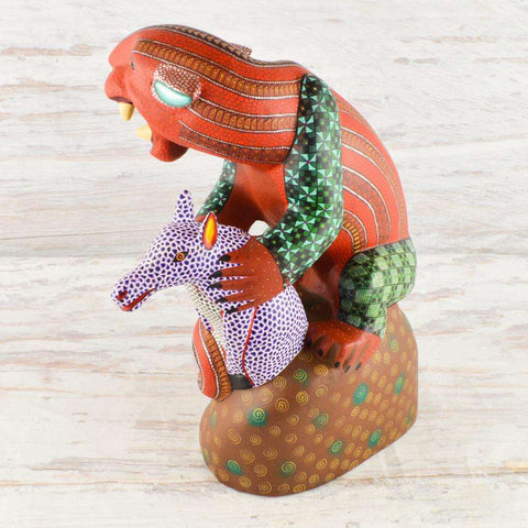 Image of Jaguar/Fox Alebrije Oaxacan Wood Carving - Alebrije Huichol Mexican Folk art magiamexica.com