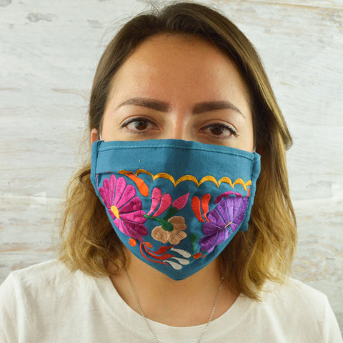Face Mask Light Blue - Alebrije Huichol Mexican Folk art magiamexica.com