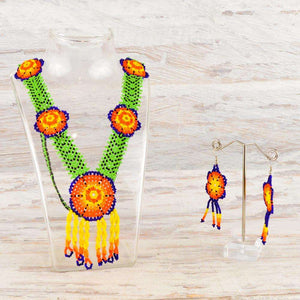 Necklace Earrings Huichol Art - Alebrije Huichol Mexican Folk art magiamexica.com