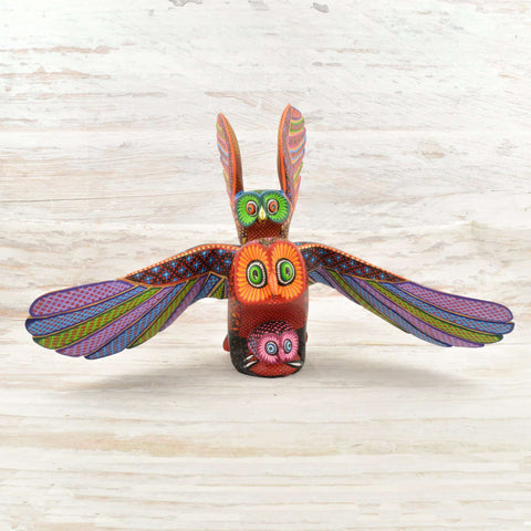 Image of Owls Alebrije Oaxacan Wood Carving - Magia Mexica