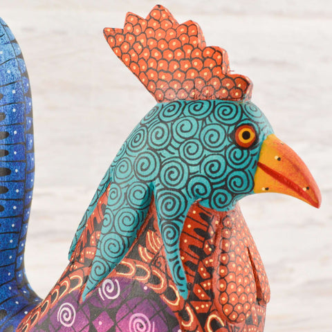 Image of Rooster Alebrije Oaxacan Wood Carving - Alebrije Huichol Mexican Folk art magiamexica.com