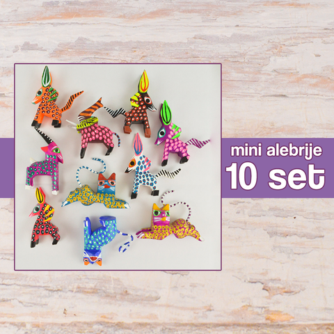 Mini Alebrijes 10 Set Alebrije Oaxacan Wood Carving - Magia Mexica