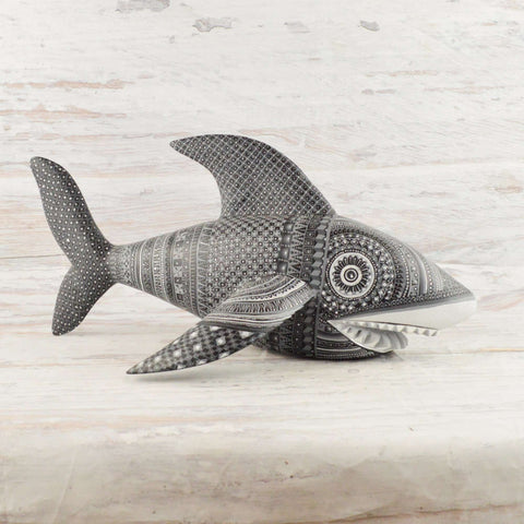 Image of Shark Alebrije Oaxacan Wood Carving - Alebrije Huichol Mexican Folk art magiamexica.com