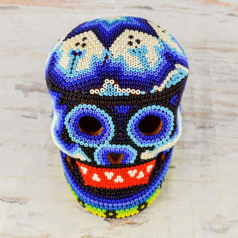 Image of Skull Huichol Art Dia de Muertos Day of the Death - Alebrije Huichol Mexican Folk art magiamexica.com