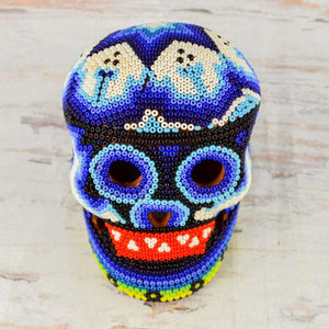 Skull Huichol Art Dia de Muertos Day of the Death - Alebrije Huichol Mexican Folk art magiamexica.com