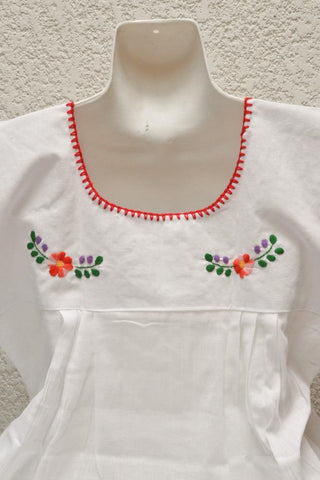 Image of Embroidered Mexican Blouse | Tehua White - Magia Mexica