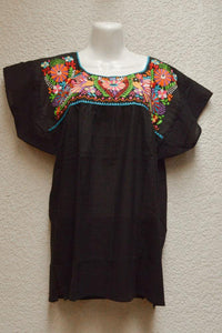 Embroidered Mexican Blouse | Tehua Black