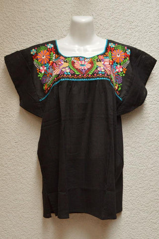 Image of Embroidered Mexican Blouse | Tehua Black - Magia Mexica