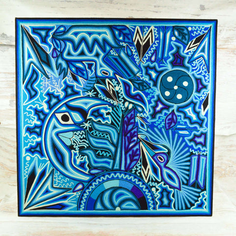 "Image of Yarn Painting Huichol Art 23"" - Magia Mexica"