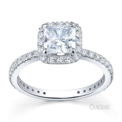 Classic pave set halo diamond ring
