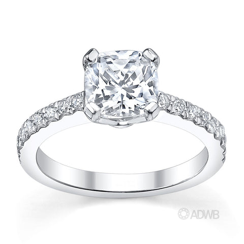 Jenna cushion cut diamond engagement ring with micro pave set side diamonds