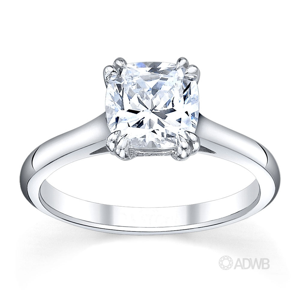 Corsica solitaire cushion cut ring