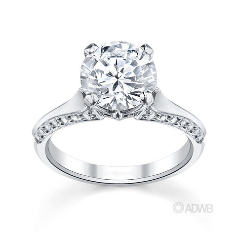 Ashley round brilliant cut diamond solitaire ring with grain set diamond band