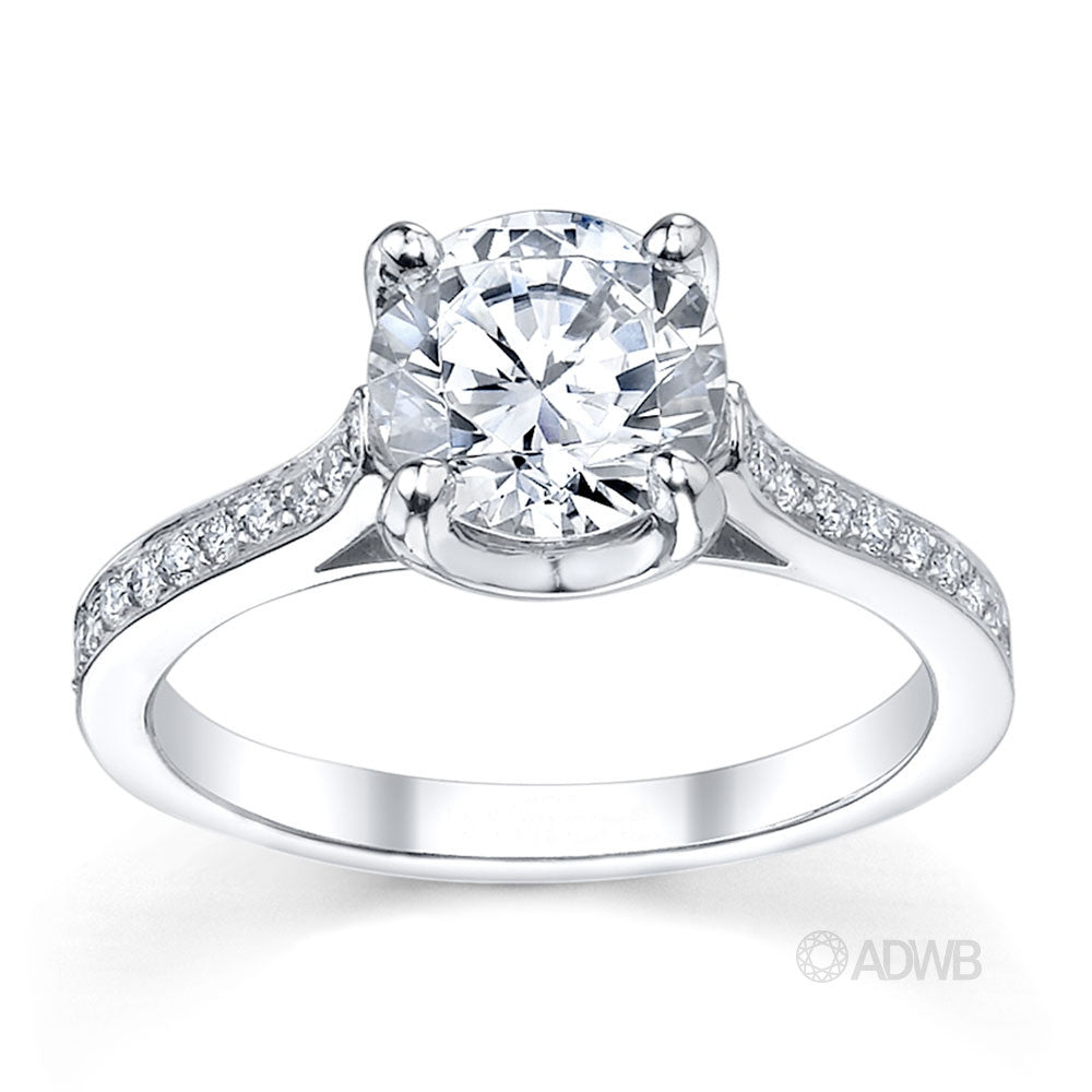 Grace 4 claw round brilliant cut diamond solitaire engagement ring with grain set diamonds