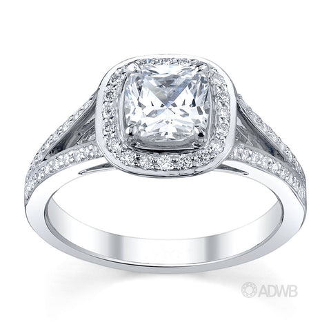 split band diamond halo engagement ring