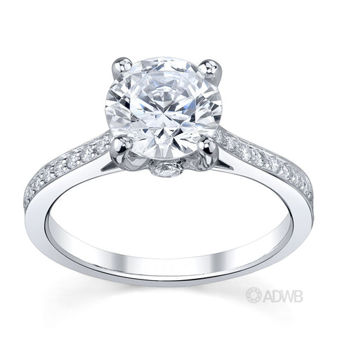 Bell 4 claw round brilliant cut diamond solitaire ring with diamond set band