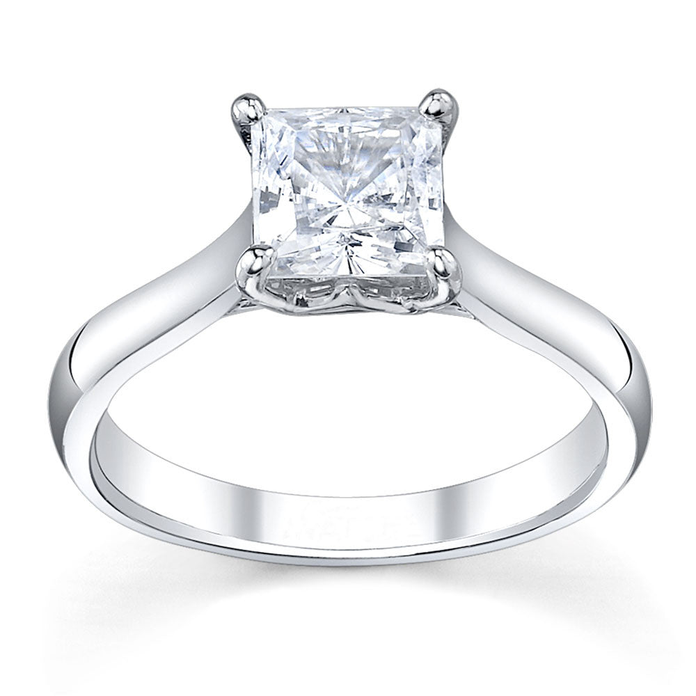 Custom made royal crown princess cut diamond engagement ring