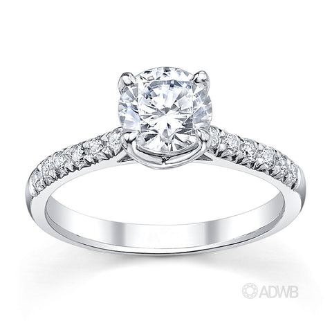 Grace 4 claw round brilliant cut diamond solitaire engagement ring with french pave