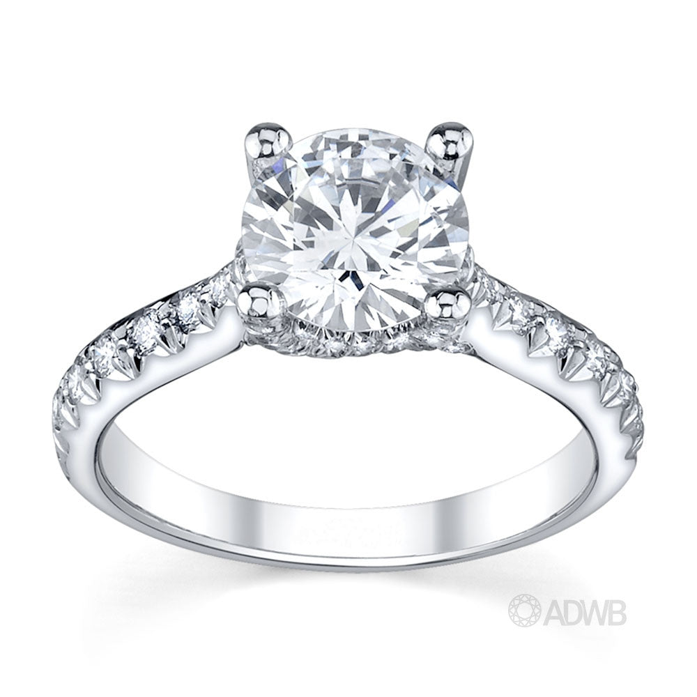Sasha round brilliant cut diamond coronet set diamond engagement ring with micro pave set band