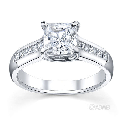 Cross prong princess cut ring with channel set princess cut diamonds