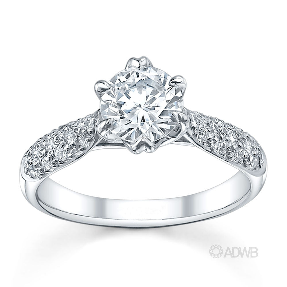royal crown round brilliant cut diamond ring with pave set